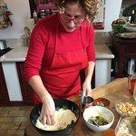 Marina showing us how to make pasta