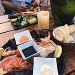 seafood platter and seabas