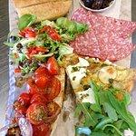 Foccacia, Bruschetta, Frittata Platter with Salami & Olives