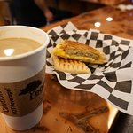 Latte and our Rise & Shine Panini