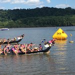 Dragon boat races at Miller Riverview Park - Dubuque, IA