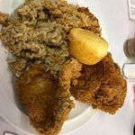 Fried chicken, pork chops, rice dressing, and cornbread dressing!