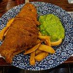 Haddock, chips, and pea mash
