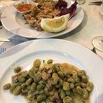 Calamaretti fritti and fabes con pancetta 👌😋