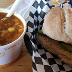 Veggie Brie Cold Sandwich and a cup of vegetarian chili