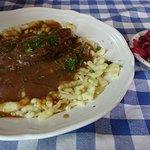 Sauerbraten, spätzle and red cabbage