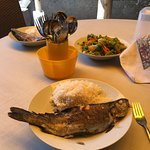 Delicious trout rubbed with salt, garlic and huacatay