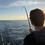 Fighting a big fish.