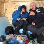 Enjoying lunch in the shelter