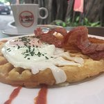 waffle with egg and bacon