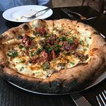 Wood-fired sausage pizza