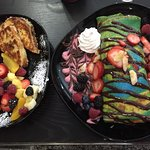 French toast on the left, Crepe on the right with delicious creams and sauces.