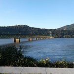 View of Hood River Bridge from river front just outside the restaurant