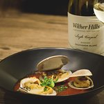 Dish from our seasonal menu paired with our Single Vineyard Sauvignon Blanc