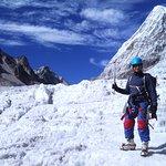 Glacier walking on Rathong Glacier
