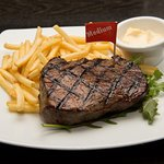 Rump Steak with Fries + Side Salad (not shown) = $15.00 Mon to Fri