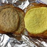 Cheese, egg and sausage on croissant