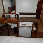 Desk, safe, mini fridge, coffee making facilities