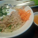 Shredded Pork with Thick Noodles and Coconut Sauce