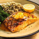 BBQ Rubbed Salmon with Sriracha Butter