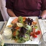 Salmon and potato pancakes. Lovely salad.