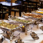 An example of a breakfast buffet served