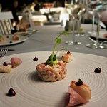 Discovery Menu | Crab with avocado, radish Greek yogurt & raspberry