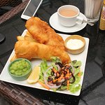 Fish and chips with cod and mushy peas