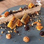 Honeycomb parfait, caramelised banana, chocolate ganache, peanut butter