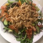 Warm spicy chicken noodle salad