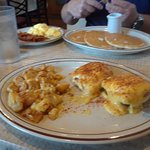 Eggs Benedict and Pancakes with scrambled eggs and bacon