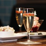 Prosecco, with sweet fruit crumble...