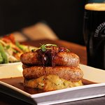 Juicy sausages, onion gravy and mashed potato...