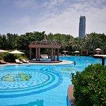 Particolare delle piscine sul lato est dell'hotel
