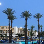 The Moon, Jupiter and the JW Marriott Palm Desert as seen from Fisherman's Landing