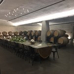 The barrel dining room that you get to see as part of the wine tour.