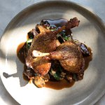 Duck Confit: Fingerling potatoes, oyster mushrooms, spinach, chasseur sauce