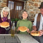 Nola and friends on the wood oven cookery course, including author Christ Stewart