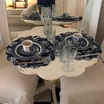 Bistro dining table in our house set beautifully