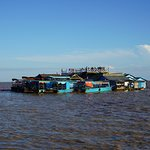 Floating restaurant with deck at Tonle Sap
