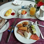 Full breakfast at the executive lounge with a fresh omelette