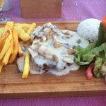 Steak with mushroom sauce dinner