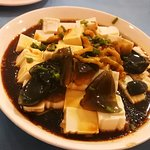 Century egg with toufu. Very salty so have to eat with rice