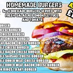 our burger menu
