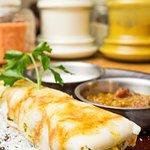 MASALA DOSA WITH SAMBAL AND COCONUT CHUTNEY