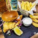 Cod Burger - Enjoy 2 floured cod fillets, fried to perfection, topped with lettuce