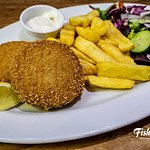 Homemade Fishcake - Filled with chunky fresh cooked cod, seasoning, parsley and potatoes