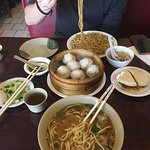 Spicy Duck and Hand Pulled Noodle Soup! Dumplings and BBQ Pork Sandwich, Chicken Lo Mein!