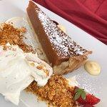 Warm treacle tart with marscapone cream