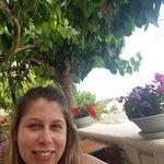 Daughter enjoying the outdoor seating